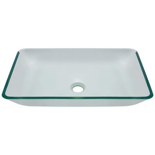 Polaris Sinks Clear Crystal Glass Rectangular Vessel Bathroom Sink