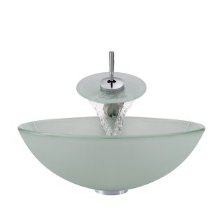 Polaris Sinks Chrome Frosted Glass Sink and Waterfall Faucet