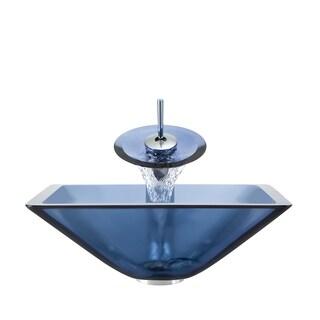 Polaris Sinks Chrome Aqua Square Vessel Sink and Waterfall Faucet