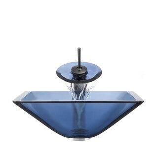Polaris Sinks Oil-rubbed Bronze Aqua Square Vessel Sink and Waterfall Faucet