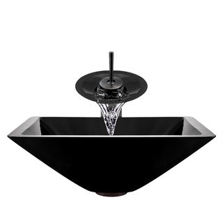 Polaris Sinks Oil-rubbed Bronze Black Square Vessel Sink and Waterfall Faucet