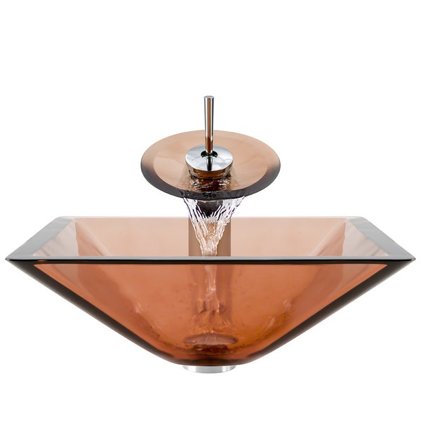 Polaris Sinks Chrome Coral Square Vessel Sink and Waterfall Faucet