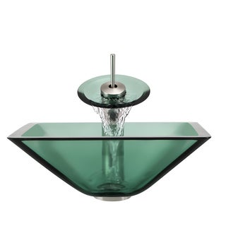 Polaris Sinks Brushed Nickel Emerald Square Vessel Sink and Waterfall Faucet