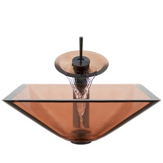 Polaris Sinks Oil-rubbed Bronze Coral Square Vessel Sink and Waterfall Faucet