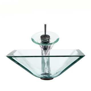 Polaris Sinks Oil-rubbed Bronze Crystal Square Vessel Sink and Waterfall Faucet