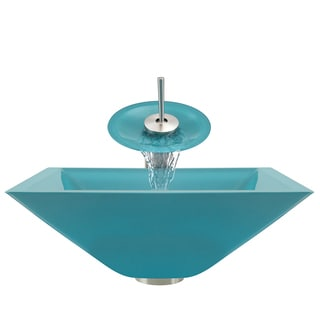 Polaris Sinks Brushed Nickel Turquoise Square Vessel Sink and Waterfall Faucet
