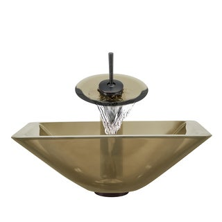 Polaris Sinks Oil-rubbed Bronze Taupe Square Vessel Sink and Waterfall Faucet