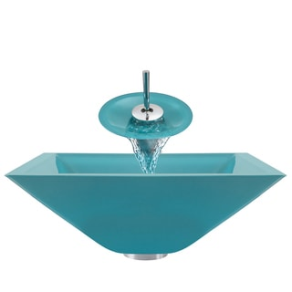 Polaris Sinks Turquoise/ Chrome 4-piece Square Bathroom Sink Ensemble