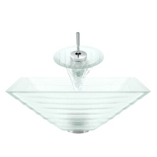 Polaris Sinks Chrome/ Clear Tiered Texture 4-piece Bathroom Ensemble