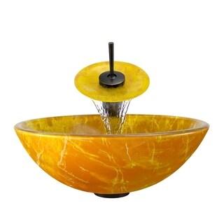 Polaris Sinks Goldtone and Yellow Glass/ Oil Rubbed Bronze 4-piece Bathroom Ensemble