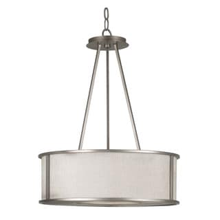 Wayne Bronze and Textured Linen 3-light Pendant
