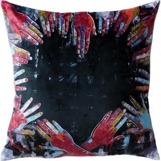 Maxwell Dickson Hands of Heart 18-inch Velour Throw Pillow