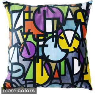 Maxwell Dickson Letter Stack 18-inch Velour Throw Pillow