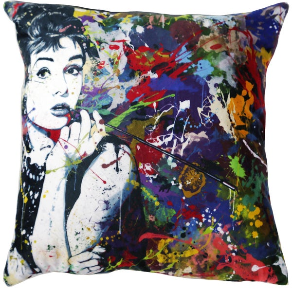 Audrey Hepburn 18-inch Velour Throw Pillow