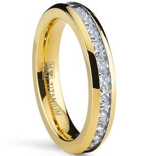 Oliveti Goldplated Titanium Princess-cut Cubic Zirconia Eternity Ring