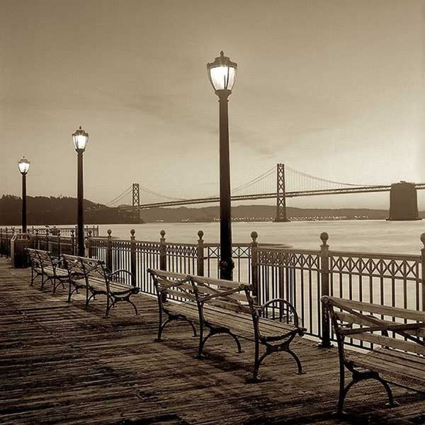 Alan Blaustein 'San Francisco Bay Bridge at Dusk' Gallery Wrapped Canvas Art