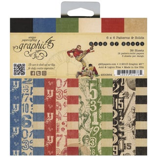 """Good Ol' Sport Double-Sided Paper Pad 6""""X6""""-36 Sheets -12 Pattern/Solid Designs, 3ea"""