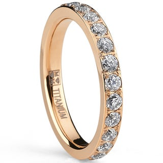 Oliveti,Rose Goldplated Titanium Round-cut Cubic Zirconia Comfort Fit Band (3 mm)