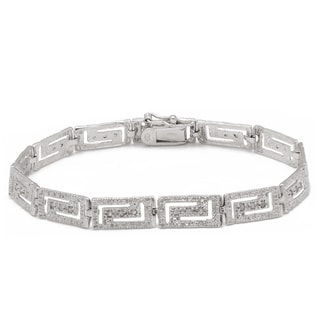 Finesque Sterling Silver 1/4ct TDW Diamond Greek Key Design Bracelet (I-J, I2-I3)