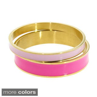 Eternally Haute Band of Color Stackable Goldtone Enamel Bangle (Set of 2)
