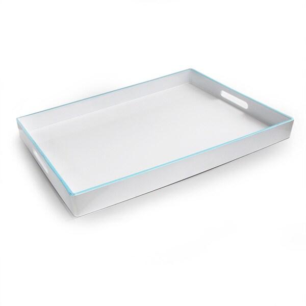 Durable White/ Blue Rectangular Serving Tray
