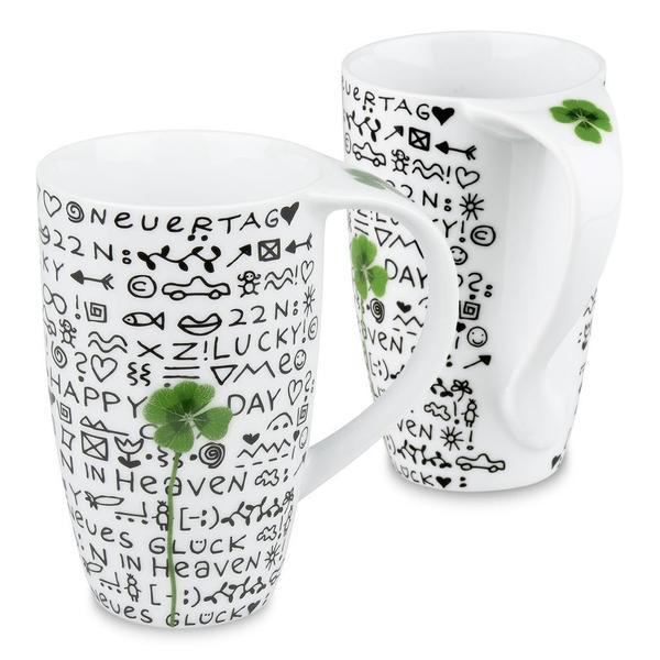 Konitz New Day New Luck Shamrock Mugs (Set of 2)