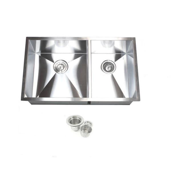 Double Bowl 32-inch 60/40 Undermount Zero Radius Kitchen Sink with Accessories 13054328
