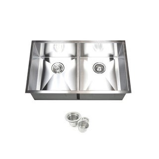 Stainless Steel 32-inch Double Bowl 50/50 Undermount Kitchen Sink and Accessories