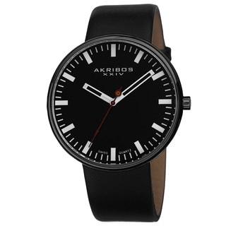 Akribos XXIV Men's Swiss Quartz Genuine Leather Strap Watch