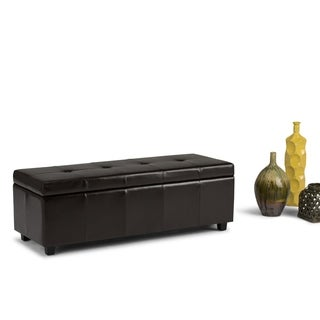 Cambridge Collection Dark Brown Bonded Leather Storage Ottoman