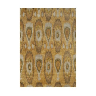 Alliyah HandmadeTobacco Brown Ikat Pattern New Zealand Wool Blend Rug (9' x 12')