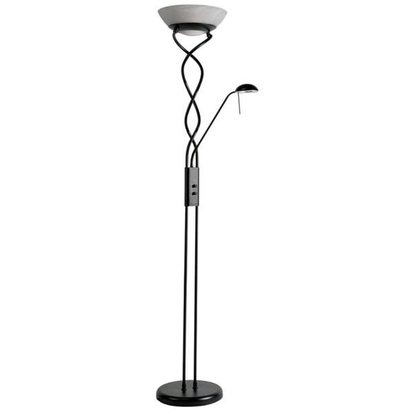 twist torchiere black 3 light floor lamp with reading light 16276926. Black Bedroom Furniture Sets. Home Design Ideas