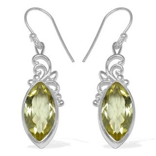 Sitara Sterling Silver Lemon Quartz Gemstone Dangle Earrings (India)