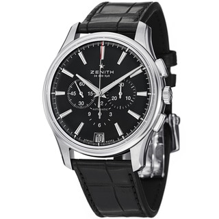 Zenith Men's 03.2110.400.22C 'El Primero' Black Dial Black Leather Strap Chronograph Watch