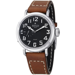 Zenith Men's 03.1930.681.21C 'Pilot' Black Dial Brown Leather Strap Watch