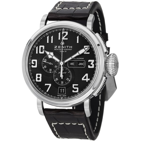 Zenith Men's 03.2430.4054.21C 'Pilot' Black Dial Black Leather Strap Annual Calendar Watch