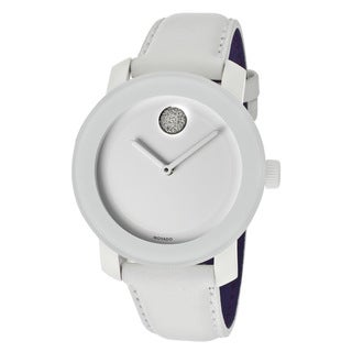 Movado Bold Women's 3600043 Crystal Accent White Leather Watch