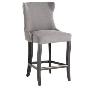 Sunpan Barbuda Grey Linen Counter Stool