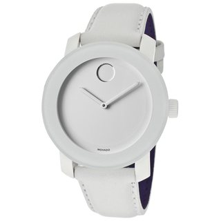 Movado Bold 3600023 White Dial White Leather Watch