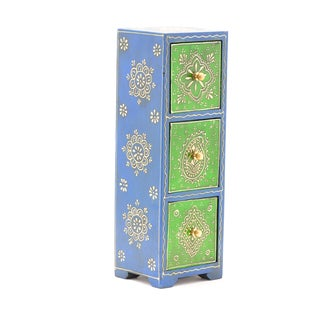 Sitara Hand-painted Mango Wood Almirah 3-drawer Jewelry Chest (India)