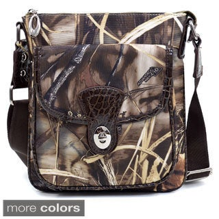 Realtree Camouflage with Croco Trim and Twist Lock Closure Pocket Messenger Bag
