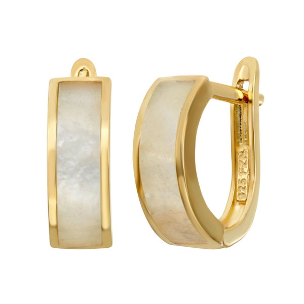 Gioelli Gold Over Sterling Silver Mother of Pearl Hoop Earrings