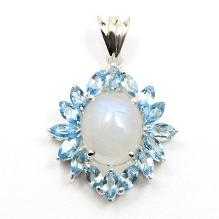 Sitara Sterling Silver Moonstone and Blue Topaz Pendant (India)