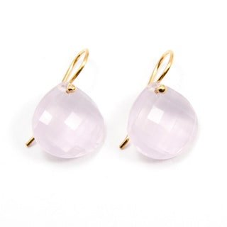 Sitara Yellow Goldplated Rose Quartz Dangle Earrings (India)