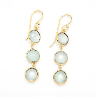 Sitara Yellow Goldplated Aqua Chalcedony Dangle Earrings (India)