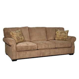 Julian Coffee Fabric Rolled-arm Sofa