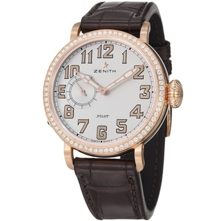 Zenith Women's 22.1930.681.31C 'Pilot' Silver Diamond Dial Rose Gold Automatic Watch