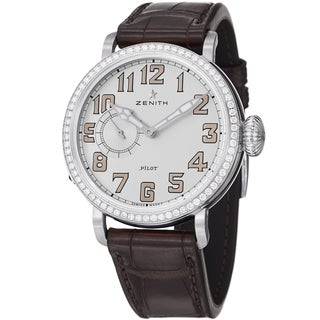 Zenith Women's 16.1930.681.31C 'Pilot' Silver Diamond Dial Brown Leather Strap Watch