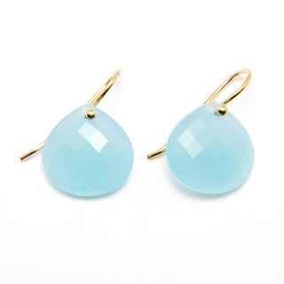 Sitara Yellow Goldplated Aqua Chalcedony Teardrop Dangle Earrings (India)