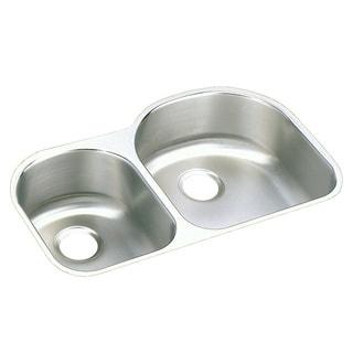 Elkay Harmony Lustertone Stainless Steel 30/70 Double Bowl Undermount Sink